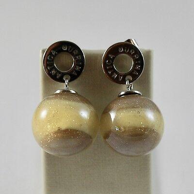 Earrings Antica Murrina Venezia Murano Glass Spheres Yellow Brown Hanging