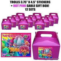 TROLLS POPPI Party Favor Boxes Thank you Decals Stickers Loots Pink Part... - $25.69