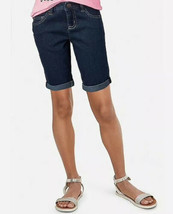 Justice Girl's Size 12 Slim Roll Cuff Denim Bermuda Shorts New with Tags - $19.79