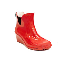 Women Red Ankle Wedge Rain Boots - $30.00