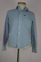 Abercrombie 100% Cotton Blue and White Striped Button Down Boys Shirt Sz... - $7.90