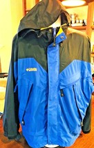 COLUMBIA Omni-Tech Blue Waterproof Breathable Hooded Parka Jacket L #184 - $44.70