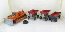 TN Nomura Handy Hank Bulldozer Old Toy Of Tin With Trucks Game BM48 - $331.84