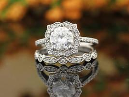 7MM Forever Vintage Floral Style Engagement Ring Set 14k White Gold Oval Silver - $116.79