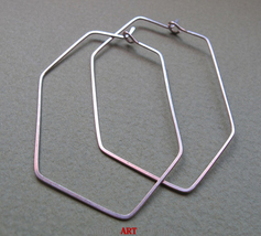 Geometric Sterling Silver Earrings. Hexagon Hoop Earrings - $28.00