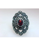 Genuine GARNET and MARCASITE Vintage RING in Sterling Silver - Size 6 -F... - $115.00