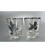 Vintage Game Birds Grouse Canada Goose Shot Glass Silver Rim - $7.99