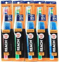 5 Reach Ultra Clean Soft Head Toothbrush & Cap Sets Random Colors - $14.99