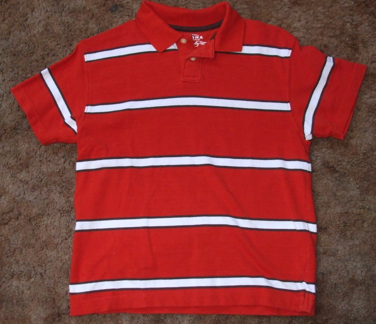 Boys Arizona Jean Company Red White Stripe Polo Shirt Size M