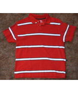 Boys Arizona Jean Company Red White Stripe Polo Shirt Size M - $3.95