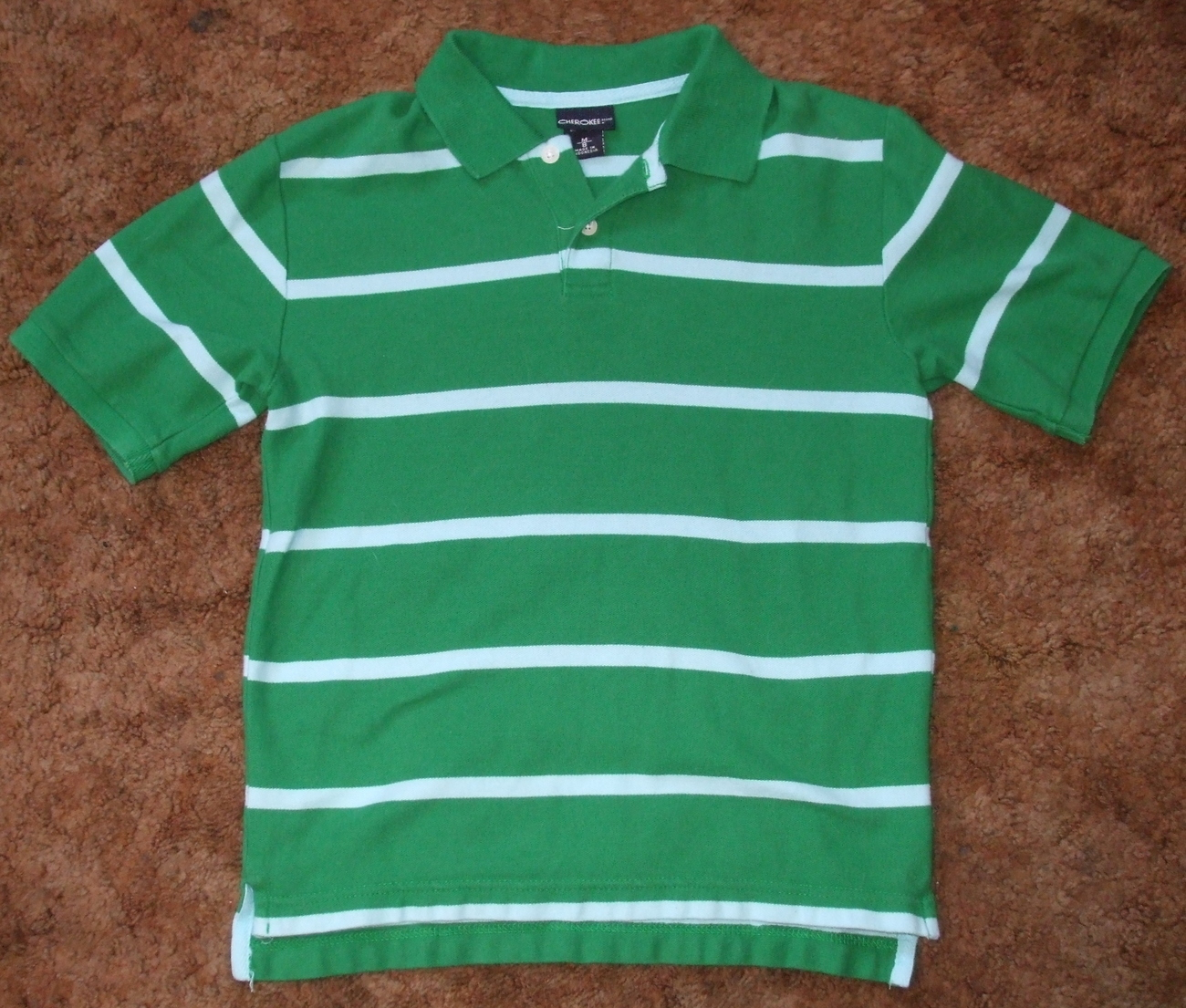 Boys Cherokee Green Light Blue Short Sleeve Stripe Polo Shirt Size M