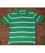 Boys Cherokee Green Light Blue Short Sleeve Stripe Polo Shirt Size M - $3.95