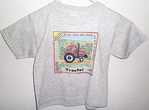 Boys NWOT Gildan Gray Tractor T Shirt Youth XS