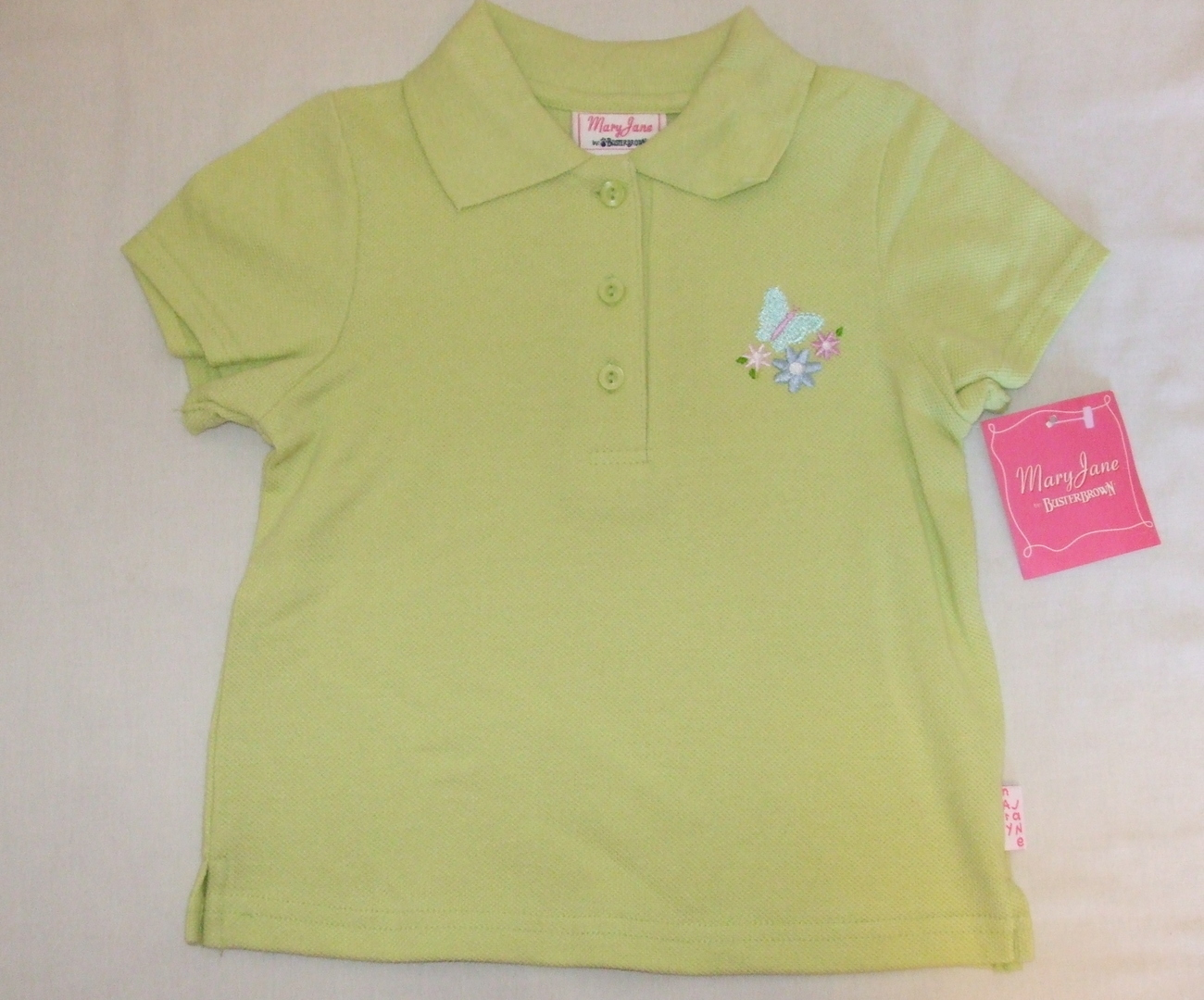 Girls NWT Mary Jane by Buster Brown Lime Green Short Sleeve Top Size 4