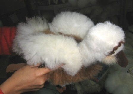 Cosy figure bird, soft toy is made with alpaca fur