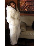 Women's white hooded Overall made of Suri alpaca fur, in all Sizes  - $1,875.00