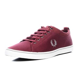Fred Perry Men's Hallam Twill Canvas Trainers Shoes B7483-106 - Maroon - $58.31
