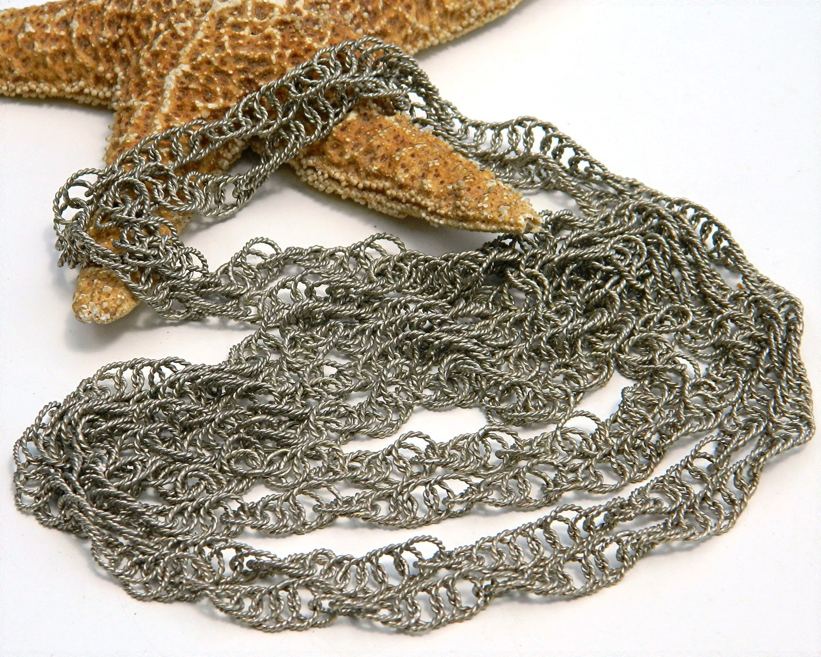 Vintage Flapper Long Silver Mexican Wedding Necklace Chain Spiral
