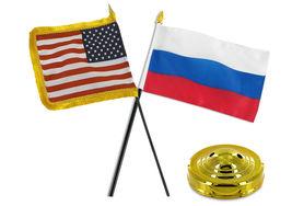 "Russia w/ USA American Gold Fringe Flag 4""x6"" Desk Set Table Stick Gold ... - $22.00"