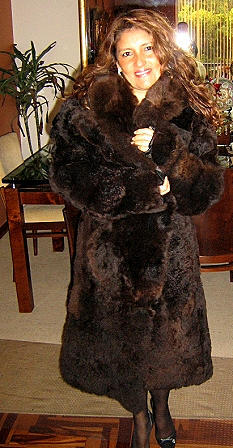 Dark brown fur long coat made of baby alpaca, outerwear, X-small