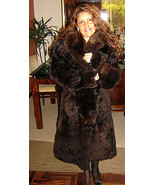 Dark brown fur long coat made of baby alpaca, outerwear, X-small - $1,044.00