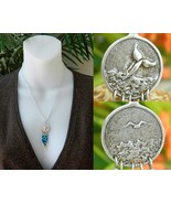 Reversible Pendant Whale Tail Flying Seagull Dangling Beads Necklace - $18.95