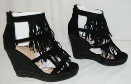 BF Betani Shiloh 8 Black Fringe Wedge Heel Sandals Size 7 image 4