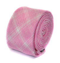 Frederick Thomas skinny pale pink checked linen tie FT1944