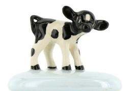 Stepping Stones Fairy Garden Terrarium Miniature Cow Baby Calf on Blue Opaline