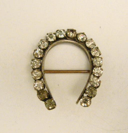 RHINESTONE HORSESHOE PIN - ANTIQUE