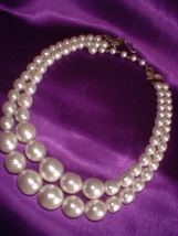 Vintage Jewelry White Plastic Two Strand Necklace - $10.00