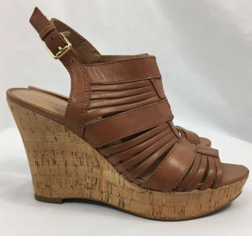 "Franco Sarto ""Sharp"" Brown Leather Slingback Wedges, Women's US Size 6M"
