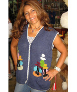 Blue embroidered peruvian motiv Vest, Alpaca wool - $79.00