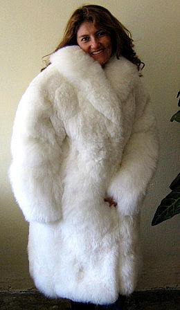 Women's white fur long coat made of South American Baby alpaca, 2X - Small
