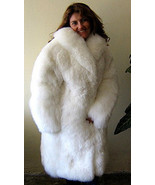 Women's white fur long coat made of South American Baby alpaca, 2X - Small - $1,443.00