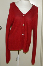 Coldwater Creek RED button front V-neck long sleeve woman's sweater size SMALL - $17.59