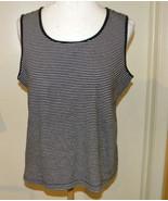 Charter Club SLEEVELESS cotton KNIT TOP tank Black & white stripes SZ XL... - $9.99