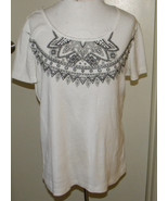 White STAG embellished beaded white cotton tee knit top short sleeve sz ... - $10.99