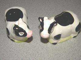 ENESCO cute vintage Salt & pepper ceramic shaker set COWS Elsie Moo Moo no box - $11.99