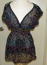 Xhilaration Sheer Floral Print  on black knit Top Sexy V neck crochet detail M - $14.99