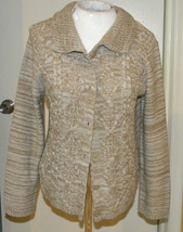 Christopher & BANKS Cardigan Sweater long sleeve beige cable knit size M... - $15.99