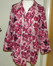 JM Collection RED floral button front long sleeve blouse top cover-all sz 14 L - $13.99