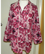 JM Collection RED floral button front long sleeve blouse top cover-all s... - $13.99