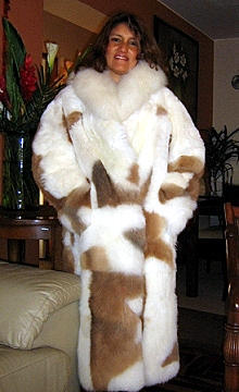 White fur long coat with brown spots, made of baby alpaca pelt, 2X-Small