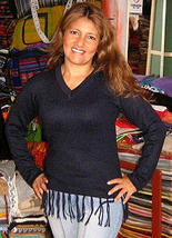 blue sweater,v-neck, made of pure alpaca wool - $85.00