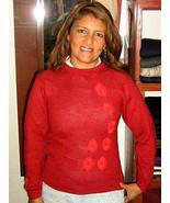 Red round neck sweater made of Babyalpaca wool - $129.00