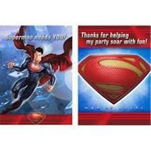 Superman Man of Steel Invitations & Thank You Postcards 8 Per Pkg Birthday Party - $4.90