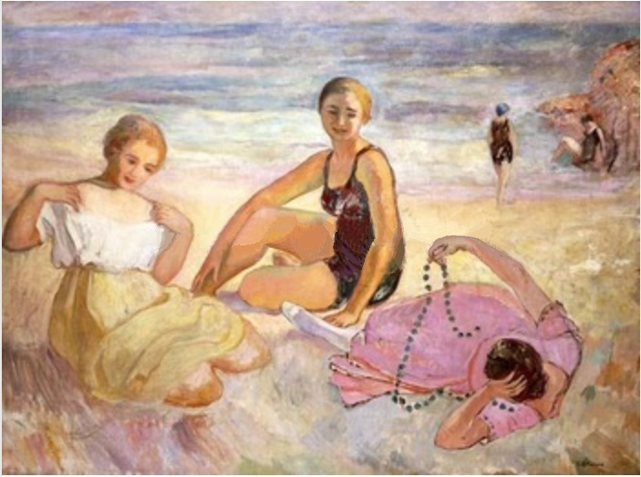 Three Women On the Beach by Henri Lebasque Repro Hand-made Canvas Oil Painting