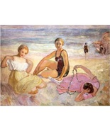 Three Women On the Beach by Henri Lebasque Repro Hand-made Canvas Oil Pa... - $245.00+