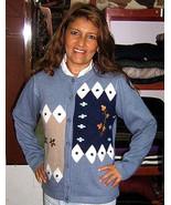 Light blue Cardigan, Jacket made of pure Babyalpaca wool - $155.00